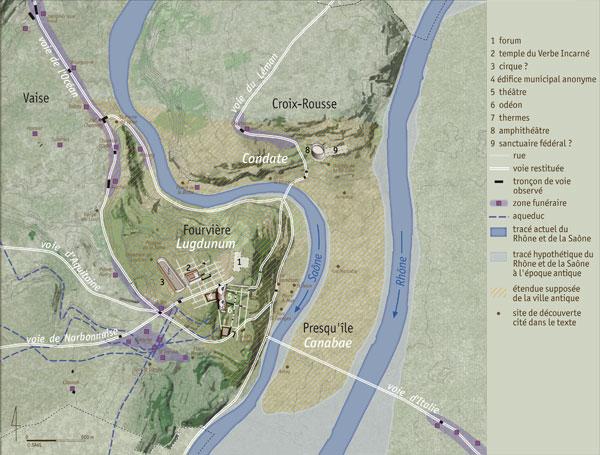 Plan de Lyon au 2e siècle apr. J.-C.